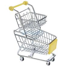 Mini Double Tiers Shopping Cart Trolley Toy Yellow(China (Mainland))