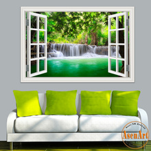 Buy 3D Window View Wall Sticker Decal Sticker Home Decor Living Room Nature Landscape Decal Waterfall Mural Wallpaper Wall Art for $5.67 in AliExpress store