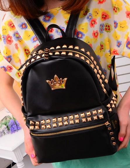 2015 новый бренд моды женщины корона печати рюкзак дизайнер кожа заклепки плечо школьные ...