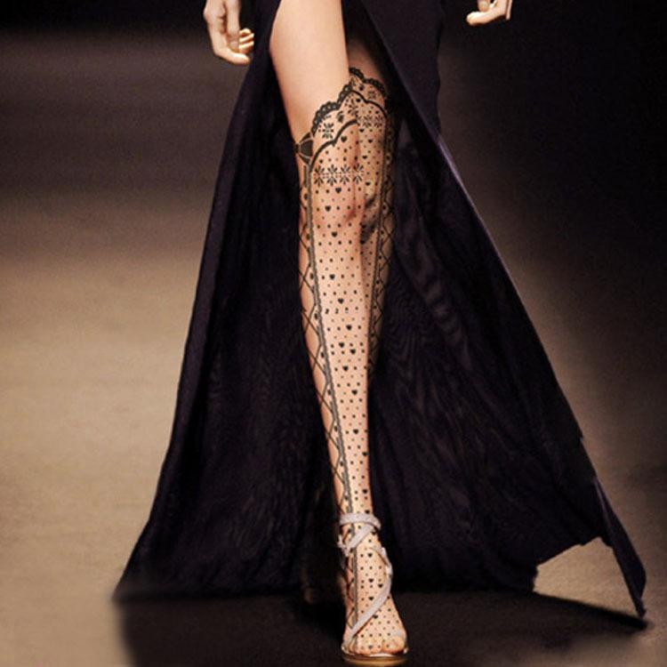 Новый женский мода сексуальная отпечатано шаблон татуировки прозрачный колготки колготки чулки 14 шаблонов проектирования прямая поставка LG-040