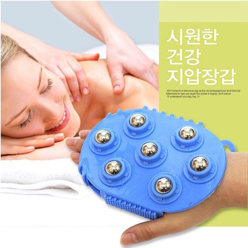 Handheld 360 Degree Spin 7 Piece Steel Ball Roller Slimming Body Massager Brush Bath Washing Brushes(China (Mainland))