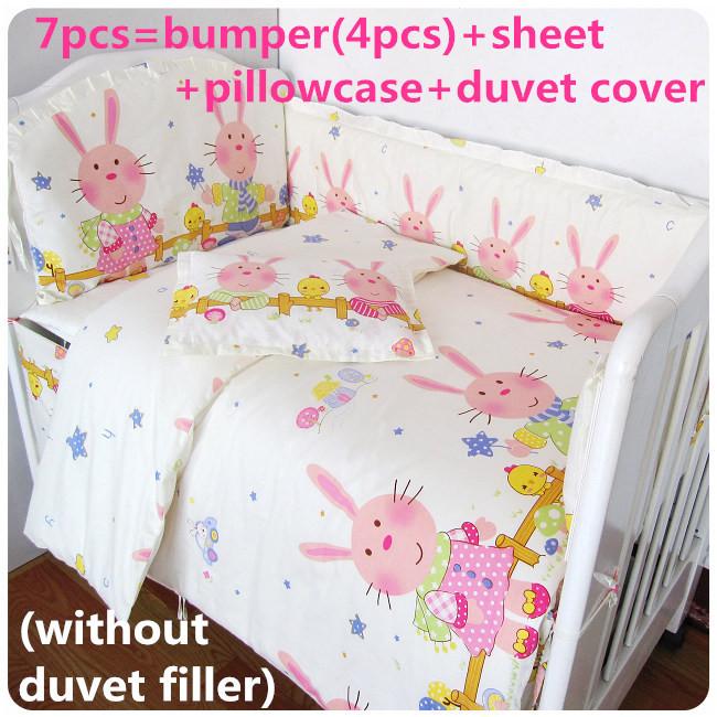 Здесь можно купить  Promotion! 6/7PCS baby bedding set 100% cotton curtain crib bumper baby cot sets,120*60/120*70cm  Детские товары