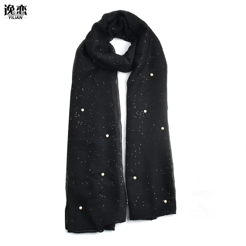 YI LIAN Brand Elegant Long Scarf With Pearl Design Fashion Newest Hot sale Shining Gold Dust Length 180cm SF840(China (Mainland))