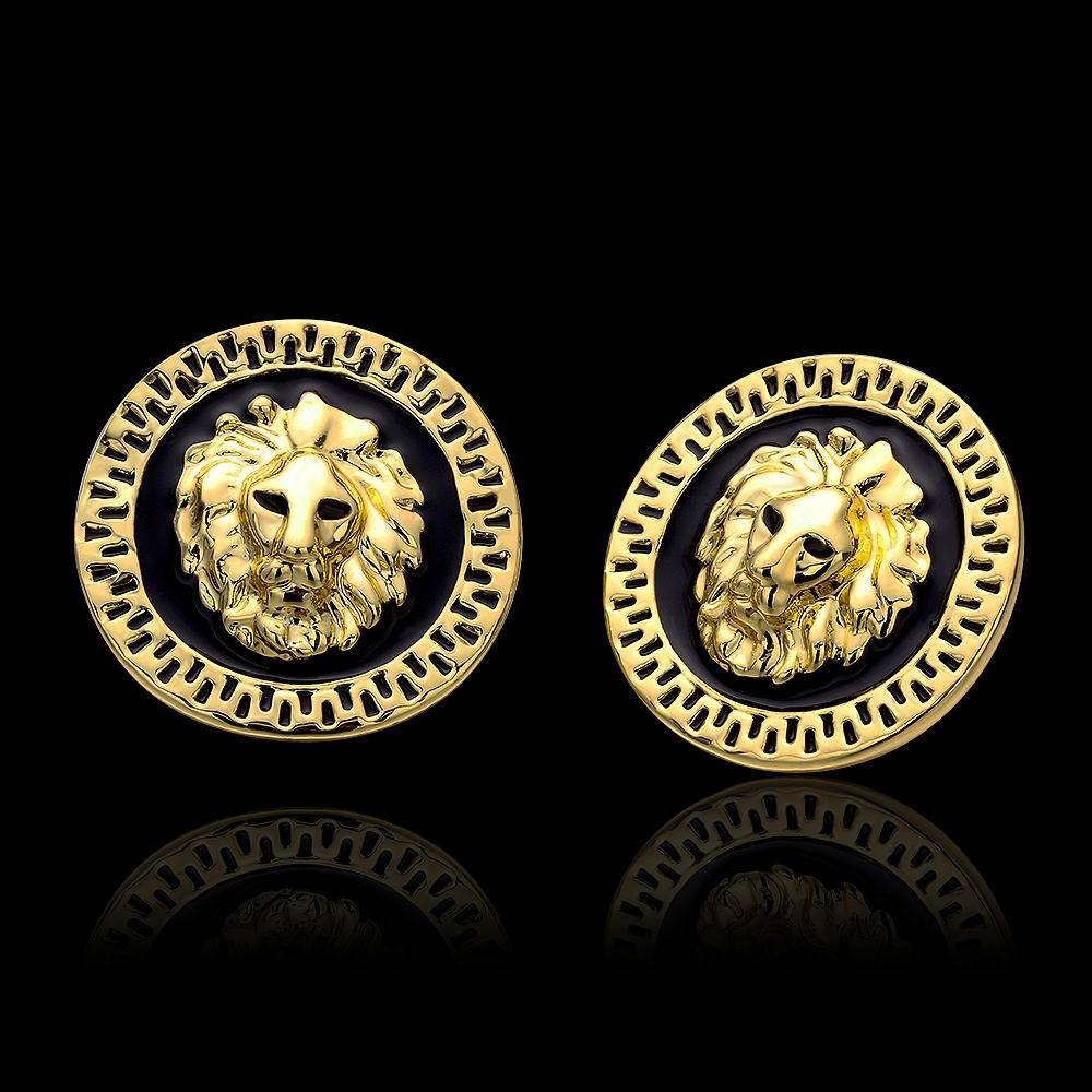 No Minimal Mix Styles 2014 New Fashion Celebrity Jewelry Black Enamel Animal Lion Head Stud Gift For Women Girl Wholesale(China (Mainland))
