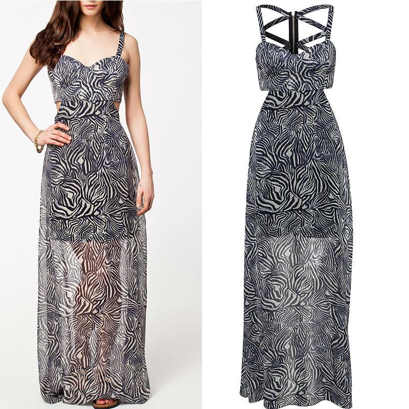 Novelty dresses Back Zip Up Hollow Out Sexy Chiffon Dress 2014 Brand New Long Dress Zebra Pattern Party Dresses(China (Mainland))