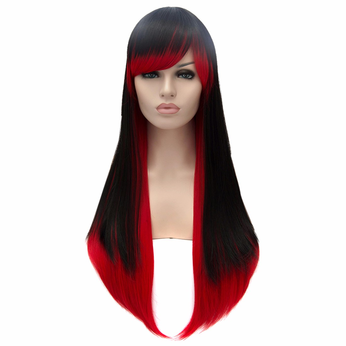 Black Red Women Long Straight Hairstyle Cosplay Party New Resistant Wigs<br><br>Aliexpress