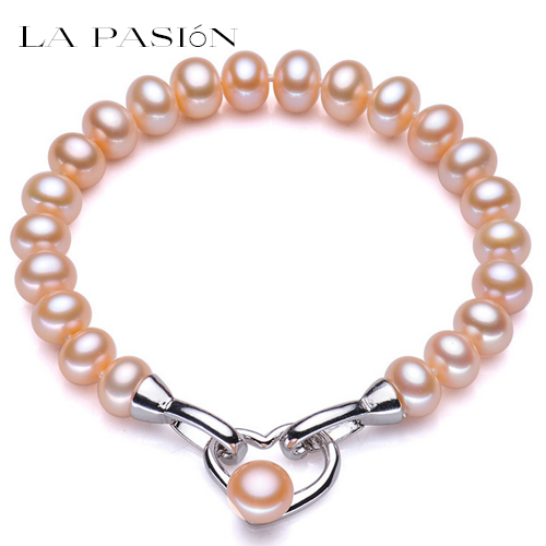Top quality 8-9mm natural pink freshwater pearl braclet for women fashion pearl jewelry 17.5cm gift for women(China (Mainland))