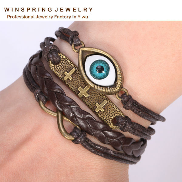 2015 Newest Large Stock Fashion Leather Bracelet For Women Weave Hand Made Bracelets Women Party Free Shipping(China (Mainland))