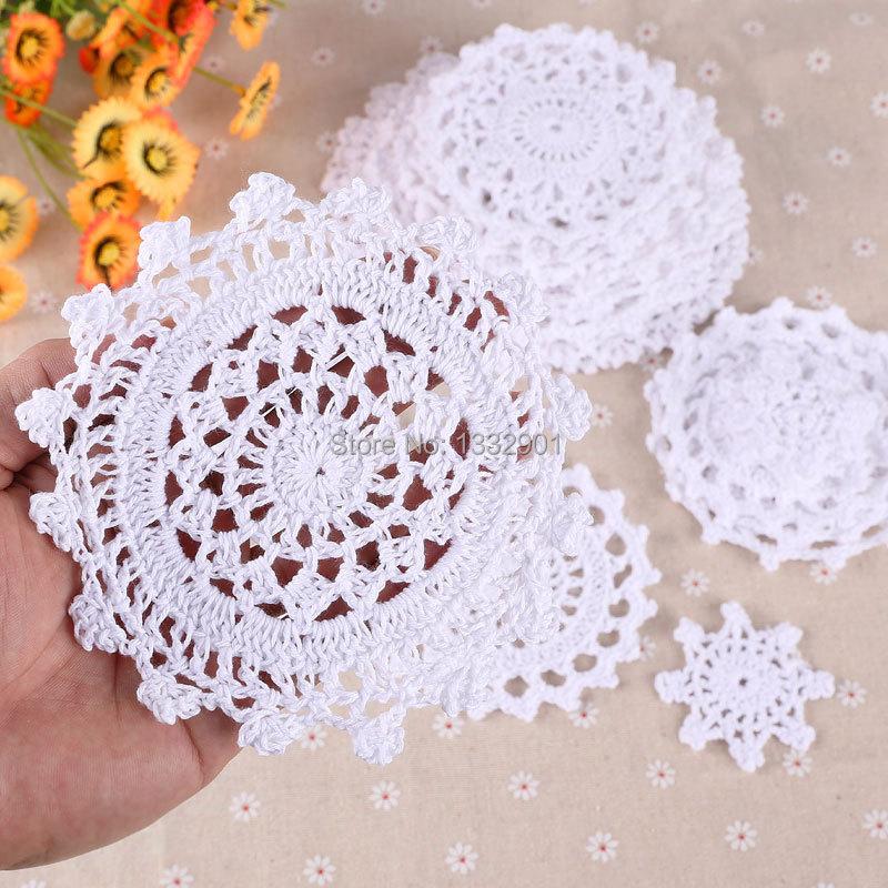 24 Винтаж 5-19 см белого кружева вязание крючком мини салфетки оптом цветочные мотивы украшения
