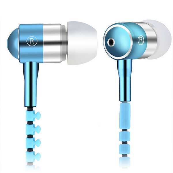 2016 Zipper Metal Earphone Fashion Headphone Microphone Stereo Bass Headset for phone ipad MP3 of 9 colors