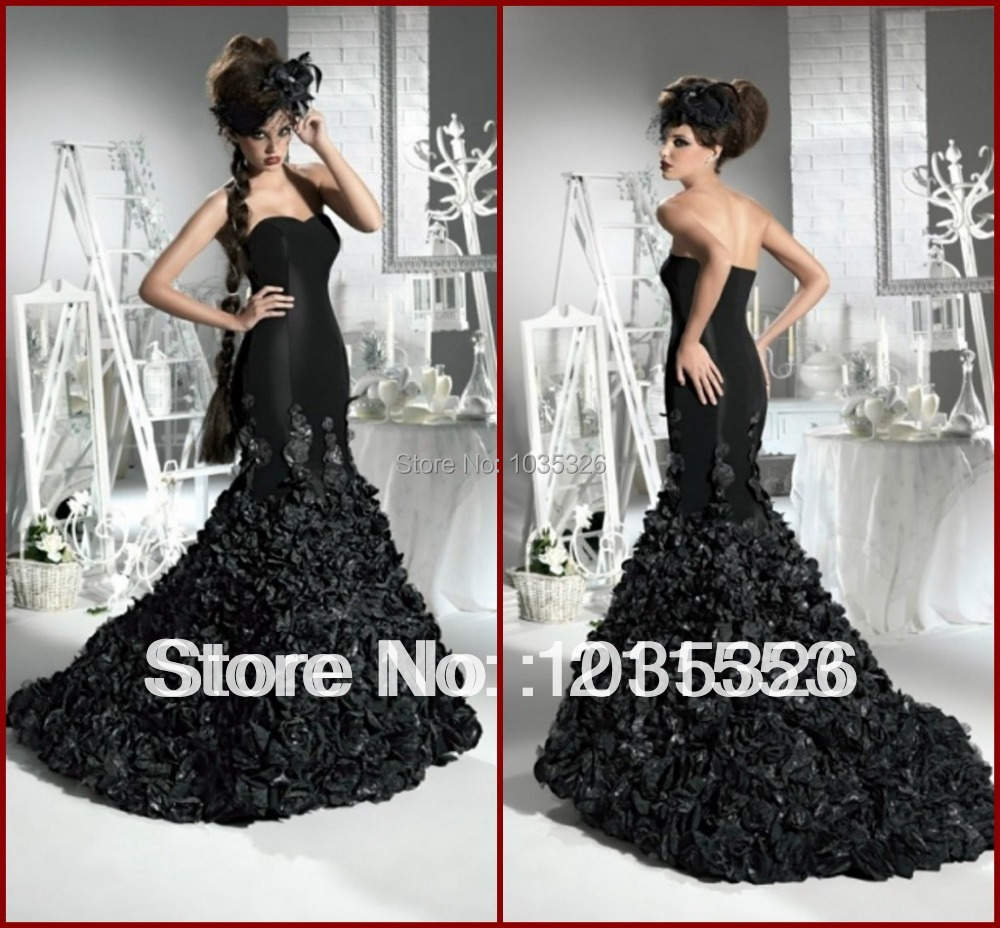 Black Wedding Dress With Train : Black wedding dresses gothic vintage court train mermaid bridal gowns