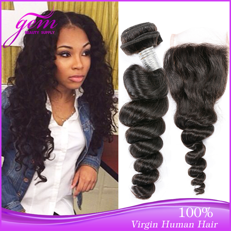 Bele Peruvian Loose Wave with Closure Peruvian Virgin Hair Weave 3 Bundles with Lace Closure Grace Hair Peruvian Loose Wave Wavy<br>
