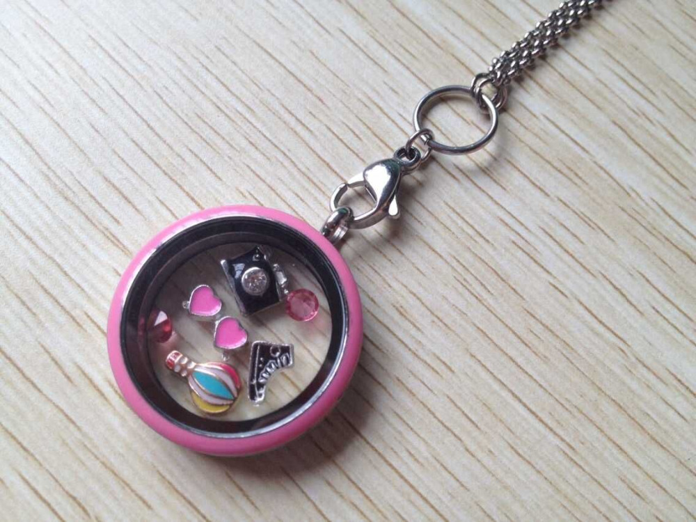 2015 Newest 30mm Melone Pink Floating Locket Round Screw Glass Living Memory Locket With Charms + 80cm chain(China (Mainland))