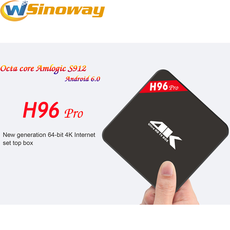 [Genuine] Smart tv Kodi box H96 pro Android 6.0 tv box Amlogic S912 Octa core 2GB RAM 16GB ROM android tv set top box H96PRO(China (Mainland))