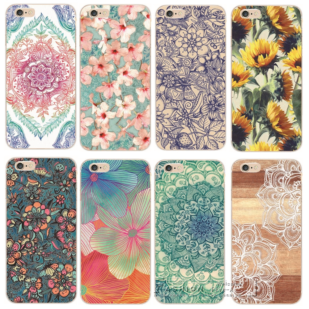Shell For Apple iPhone 6 6S iPhone6S iPhone6 Back Case Cover Printing Mandala Flower Datura Floral