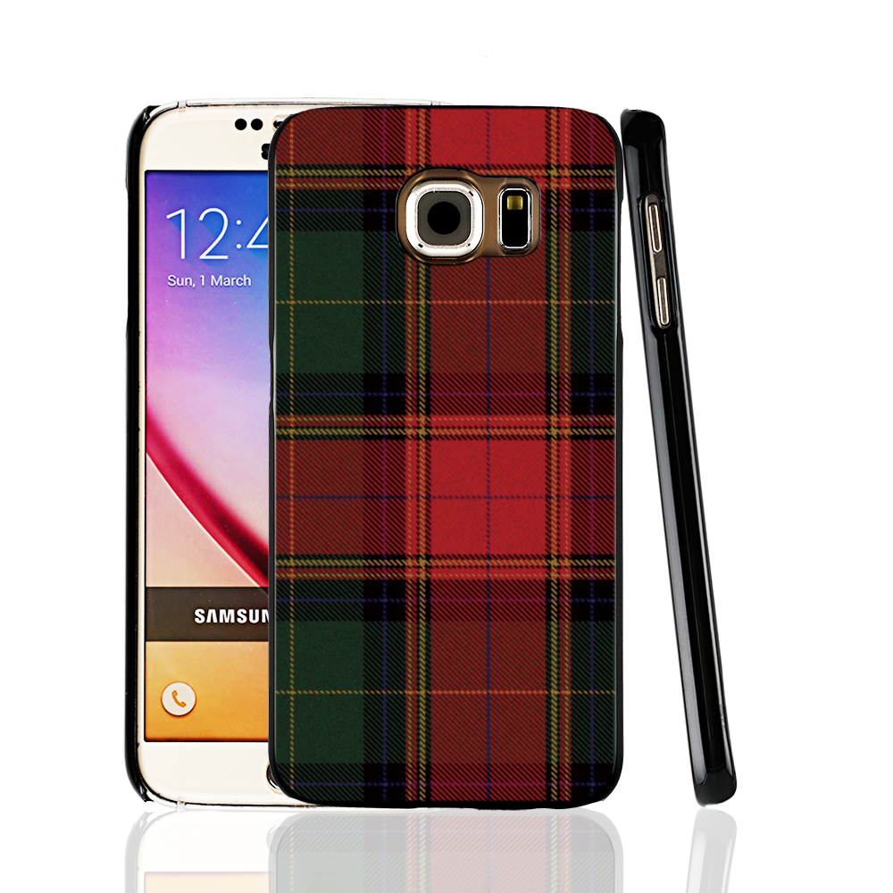 07287 RED BLUE font b TARTAN b font SCARF FASHION cell phone protective case cover for