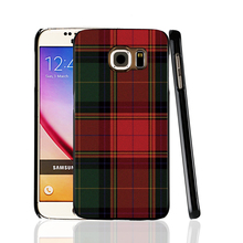 07287 RED BLUE TARTAN SCARF FASHION cell phone protective case cover for Samsung Galaxy A3 A5 A7 A8 A9 2016