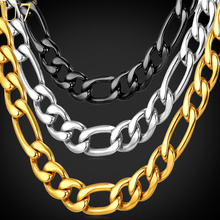Buy U7 Gold Color Necklace Chain Men Jewelry Father Gift Wholesale 5 Sizes 9MM New Trendy Long Link Chain Necklace N550 for $6.49 in AliExpress store
