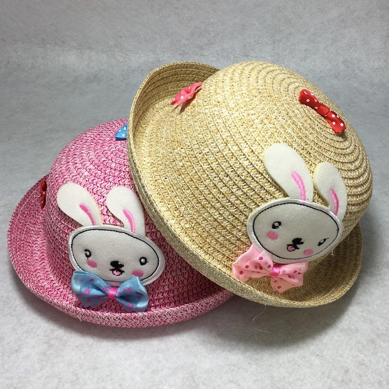 2016 New Baby Straw Hat Summer Kids Cute Rabbit Decoration Lovely Beach Cap Children Character Girls Boys Solid Casual Sun Hat(China (Mainland))