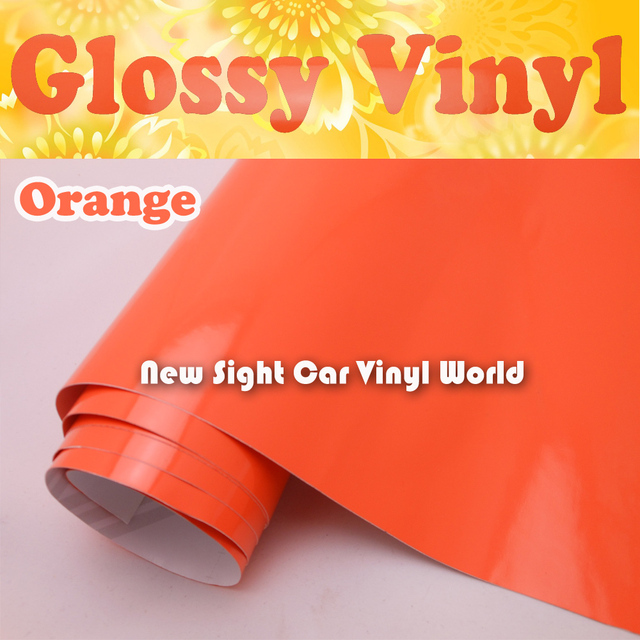 Glossy Orange Color Vinyl Film Air Release For Car Decals Size:1.52*30m/Roll
