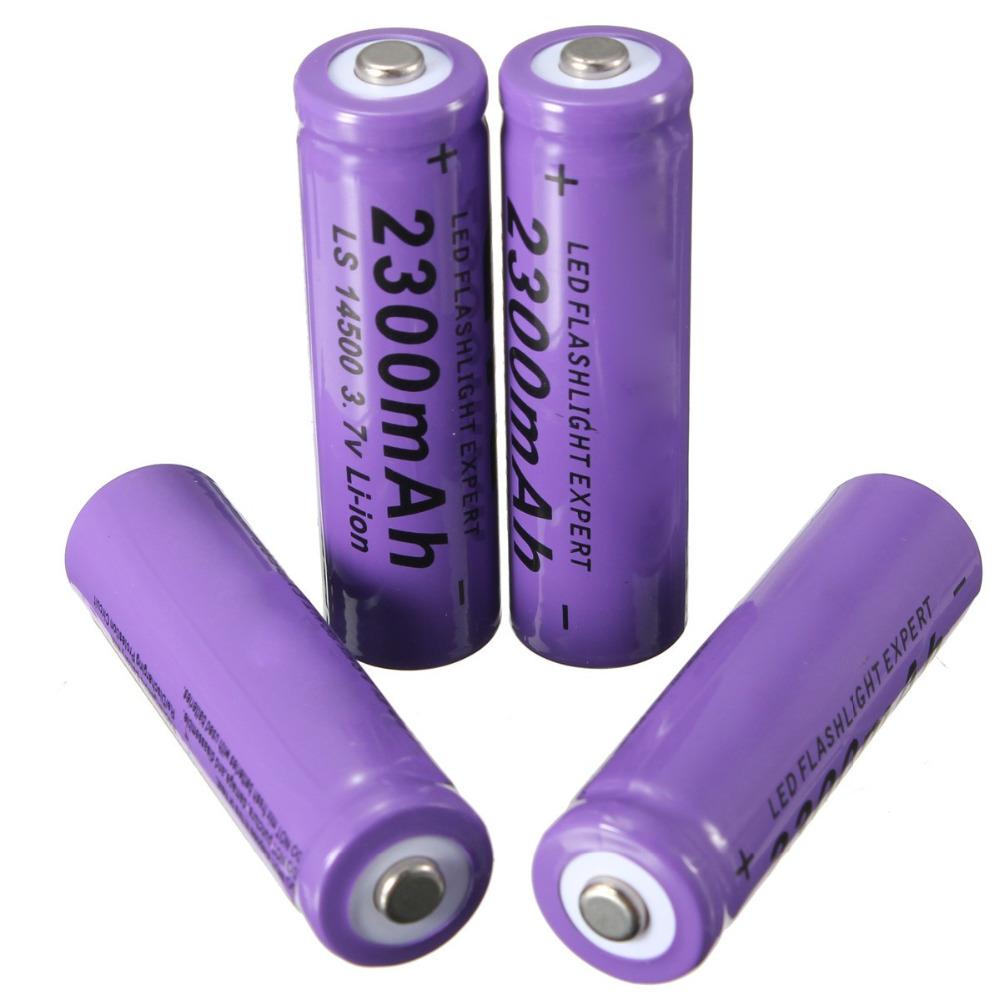 4pcs/lot Purple 3.7V 2300mAh 14500 AA Li-ion Rechargeable Battery For Flashlight light Torch(China (Mainland))