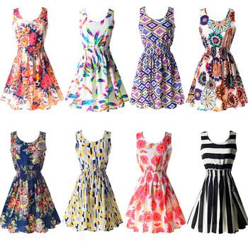 Новинка 2015, топ продаж, стильное сексуальное летнее женское шифоновое платье без рукавов, пляжный наряд с цветочным узором, мини-платья, в наличии много расцветок, размеры M-XXL, бесплатная доставка