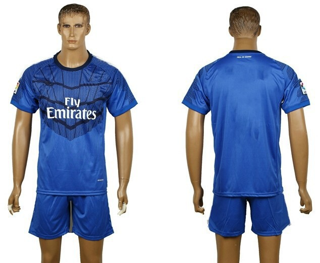 Free Shipping 14 15 Real Madrid goalkeeper blue soccer jerseys designer football training suit for men casual suit sport uniform(China (Mainland))