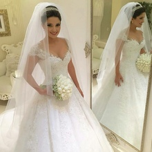 Popular Ball Gown Plus Size Wedding Dress 2016 Princess Bride Gown Short Sleeves Lace Wedding Dress Vestido De Noiva Vintage(China (Mainland))