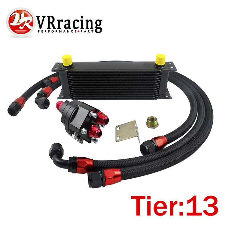 VR RACING-UNIVERSAL 13 ROWS ENGINE OIL COOLER+ALUMINUM OIL FILTER/COOLER RELOCATION KIT+3X BLACK NYLON BRAIDED HOSE LINE+ADAPTER