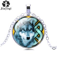 Fashion Bronze Silver Color Jewelry for Women Newest Punk Wolf Necklace Glass Cabochon Statement Chain Necklace