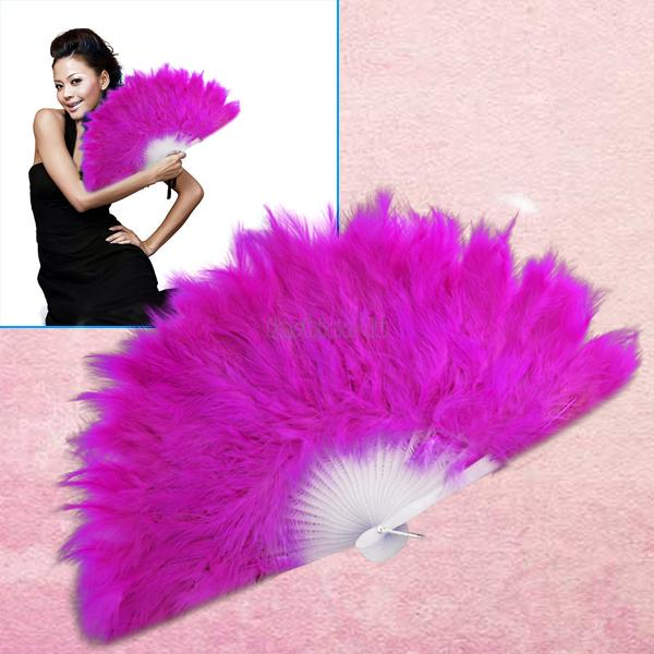 rosy feather wedding party ball lady folding hand fan EN0776(China (Mainland))