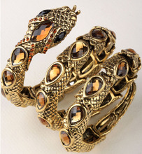 Stirata del serpente braccialetto bracciale braccio superiore del polsino per le donne punk rock gioielli braccialetto di cristallo antique gold & silver placcato A32(China (Mainland))
