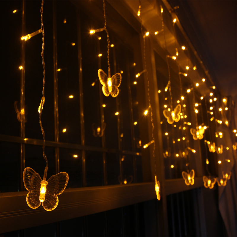 Butterfly LED String Curtain Lights for Festival Holiday Wedding 4*0.6m 120leds 220V Christmas Garland(China (Mainland))
