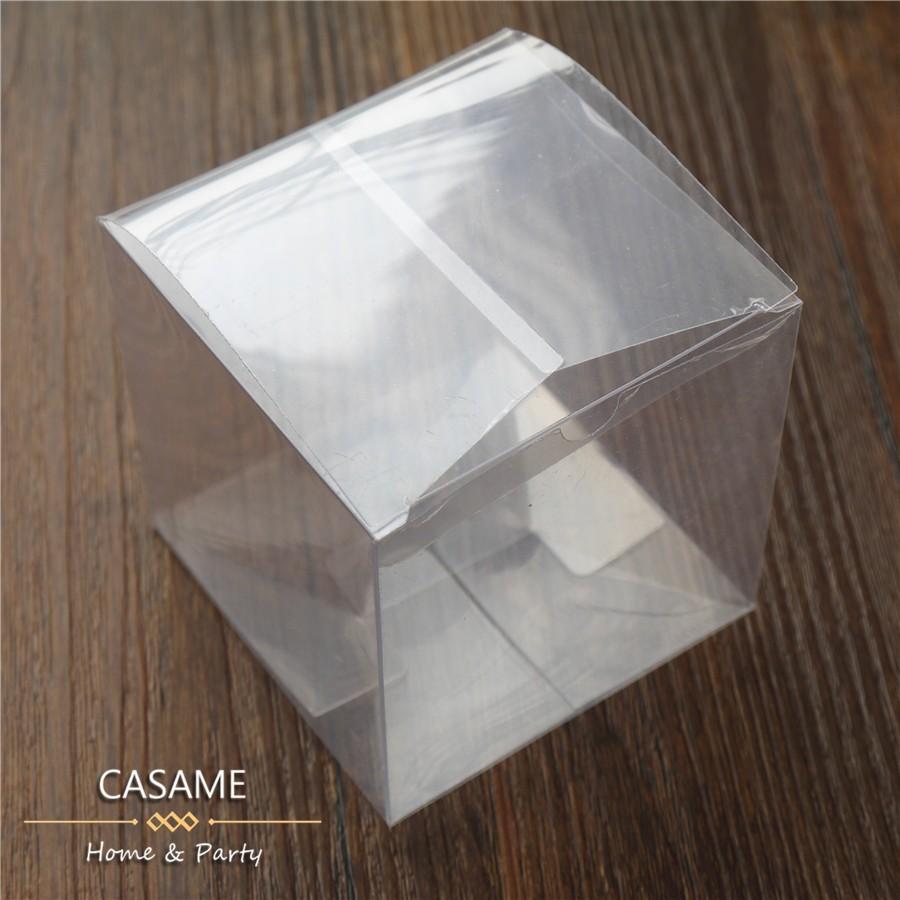 50pcs/lot Wedding Party Favors Boxes Clear PVC Wedding Favor Boxes Chocolate Candy boxes clear box quadrangle square 5*5*5(China (Mainland))