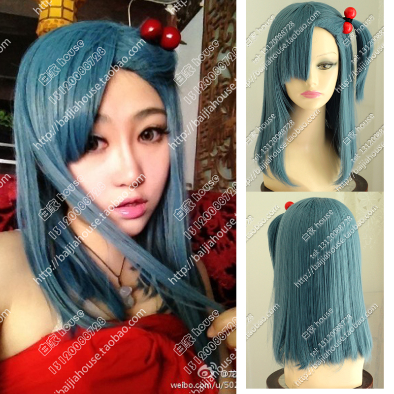 Здесь можно купить  Hot Sale Anime Dragon Ball Z Bulma Modeling Style Blue Cosplay Costume Wig Dragonball COS Heat Resistent Pelucas with Hairband  Волосы и аксессуары