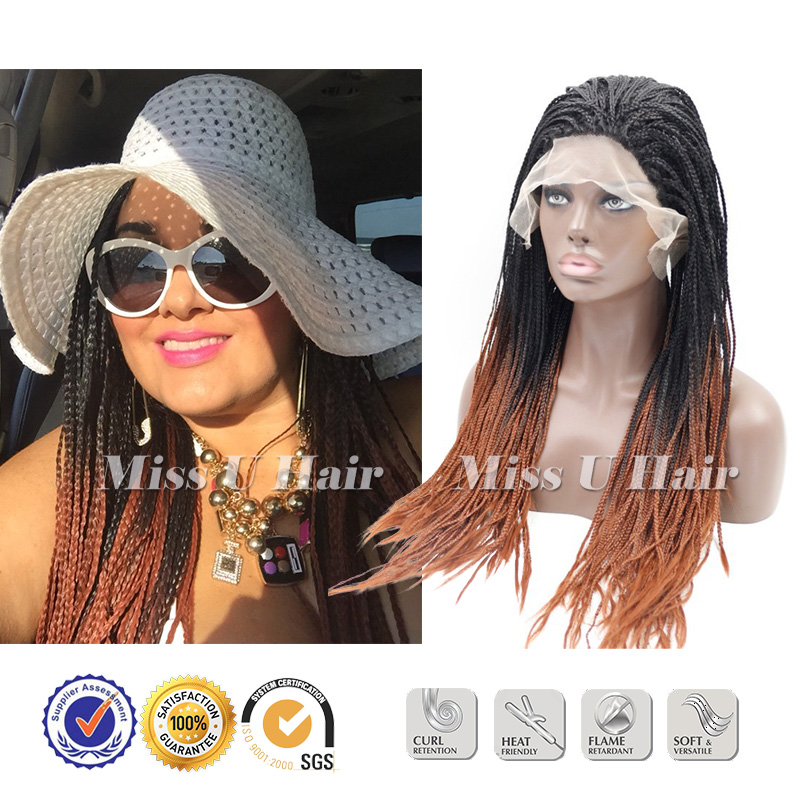 braided wigs synthetic braiding hair ombre african american black women - Miss U Hair Extensions And Wig store