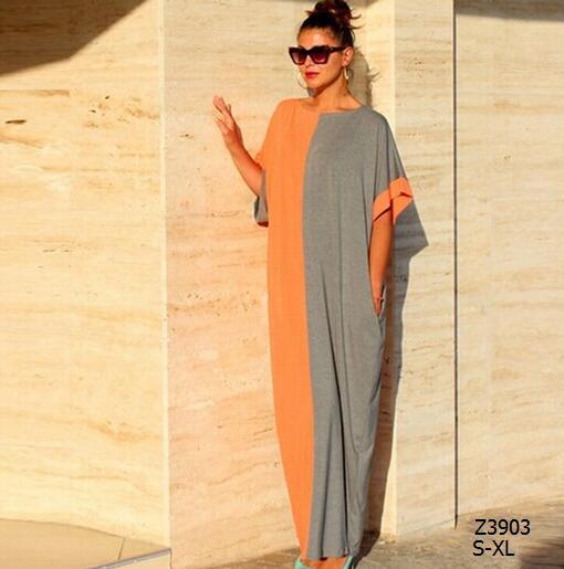 3 Style 2015 Summer Women Dress Loose Half Sleeve Plus size symmetry Retro Maxi Dress Wrap Long Dress Ladies Vestidos Z3903(China (Mainland))