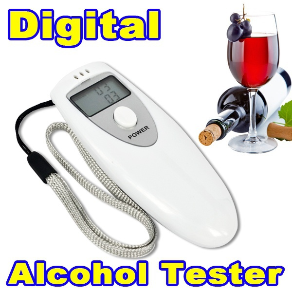 Hot Sale White Prefessional Police LCD Digital Breathalyzer Tester Portable Breath Alcohol Analyzer Meter Alcohol Detection(China (Mainland))