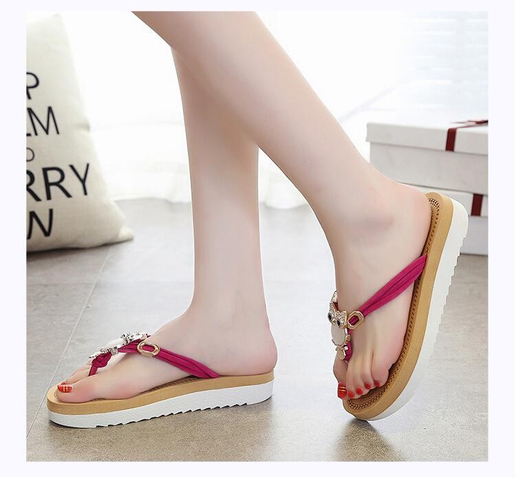 Brand Thick Bottom Platform Flip Flops Rhinestone Wedge Heel Shoes Patchwork Woman Summer Sandals z566
