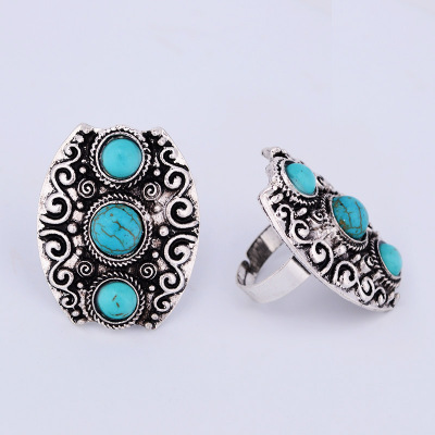 Vintage Indian Turkish Silver Custom Carving Antique Persian Turquoise Stone Ring Boho Jewelry Ethnic Native American(China (Mainland))