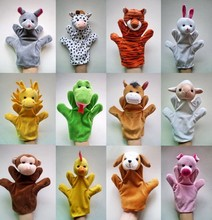 12Pcs/Lot Funny Hand Puppets For Kids Plush Hand Puppets For Sale Chinese Zodiac Style Cartoon Hand Puppets Large Size(China (Mainland))