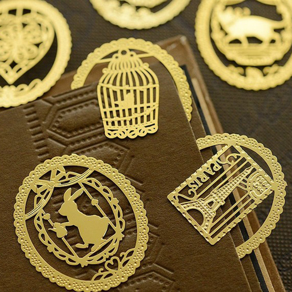 Cute Gold Metal Bookmark Fashion Birdcage Crown Cat Clips for Books Paper Creative Products Stationery(China (Mainland))