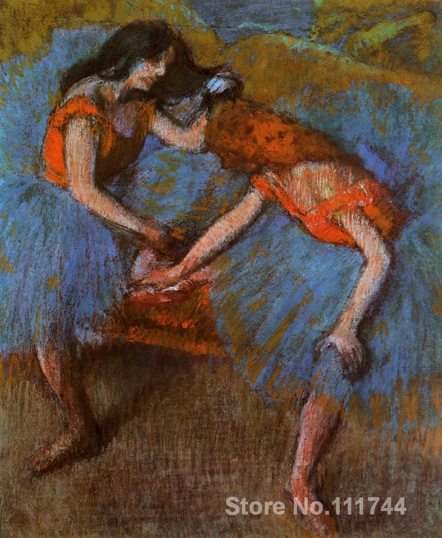 buy a painting,Two Dancers with Yellow Corsages-Edgar Degas,home decor,High quality,Hand-painted(China (Mainland))