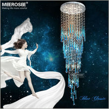 Royal Blue Crystal Chandelier Light Fixture Long Large Crystal Lamp for staircase Lustre stairs foyer Crystal Chandelier Lamp(China (Mainland))