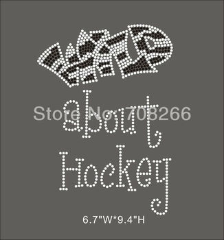 FREE shipping 35pcs / lot Wild About Hockey Rhinestone Transfer Motifs For Custom T Shirts