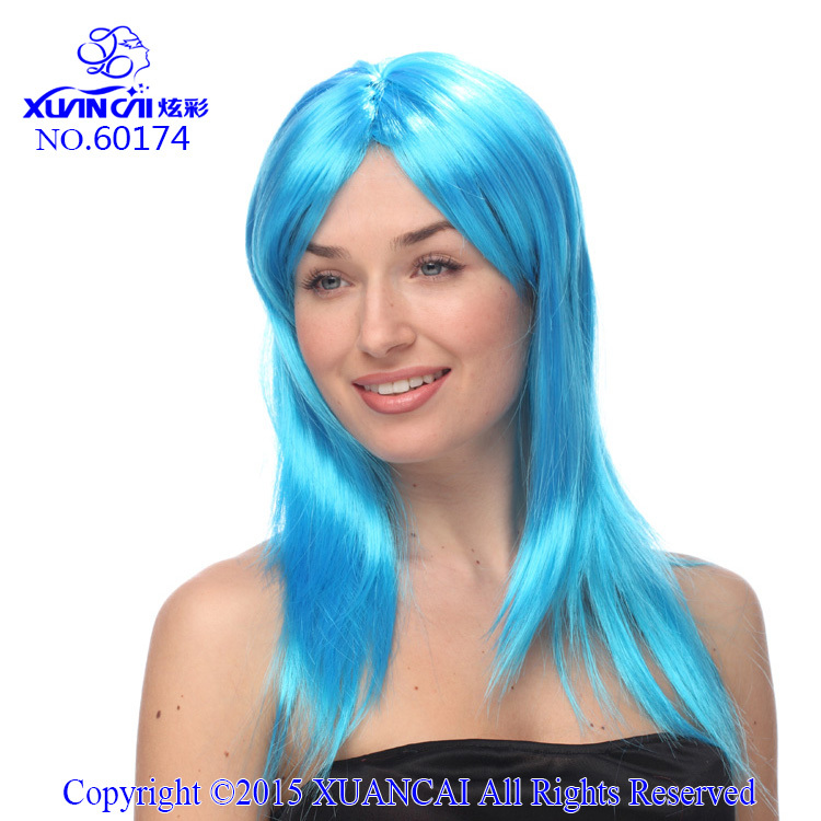 New Arrival Promotion Cosplay Wigs 100% Polyester Free Shipping Hot Sale Cheap Synthetic Sky Blue Long Straight Wig(China (Mainland))