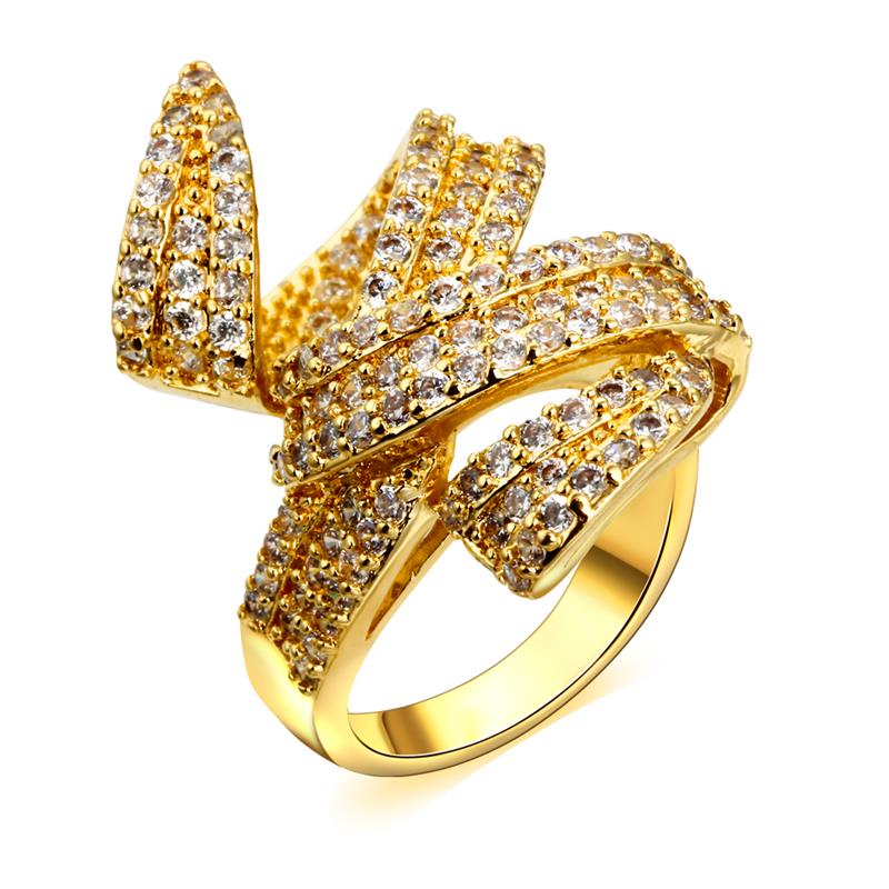 New Arrival Fashion Exaggerated Big Ring AAA Cubic Zirconia Crystal 18K Gold & Platinum Plated High Polish Free Shipping(China (Mainland))