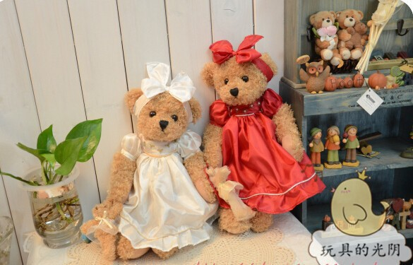 16 inch 2 pcs teddy bear with dress high quality stuffed bear toy birthday gift valentine gift(China (Mainland))