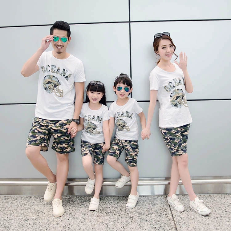 Family Matching Outfits Clothes T Shirt And Shorts Set For