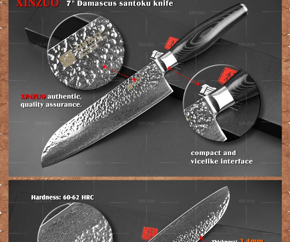 "Buy XINZUO 73 layers 7"" inch santoku knife Japanese Damascus kitchen knife japanese chef knife with Color wood handle free shipping cheap"